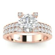 1.45ct G-si2 Diamond Pave Engagement Ring 18k Rose Gold Any Size