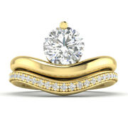 1.25ct D-si2 Diamond Bridal Set Engagement Ring 14k Yellow Gold Any Size