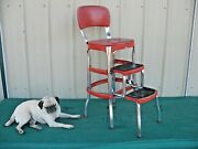 Vintage 1950and039s Red Cosco Chrome Kitchen Step Farm Chair Stool Plant Stand