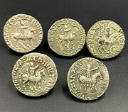 5 Ancient Greek Indo Sycthian Silver Old Coins Lot Persian Nomadic Antiquities