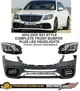 2014 2015 2016 2017 S63 Front Bumper Kit + Led Headlights Amg S-class S65 S550