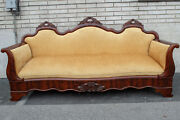 Mahogany American Empire Sofa Antique 19th Century Newly Upholstered And Restored