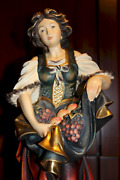 Vintage 16 Wooden Hand Carved Girl Woman Wine Grapes Fruits Statue Figurine