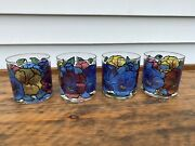 Pasinski Washington Glass Stained Pansy Floral Low Ball Glasses 4
