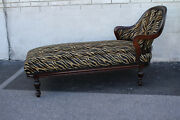 Charming Regency Style Maple Chaise Longue New Black And Beige Upholstery