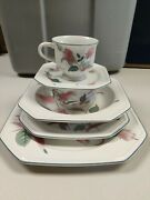 Mikasa Silk Flowers China Made In Japan 6 Pc Dinner Set Bowls Plate Discontinued