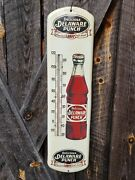 Delaware Punch Thermometer Sign. 27inx7in. Works. Painted Metal