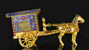 15.2old China Copper Gold Gilt Inlay Gem Dynasty People Horse Drawn Tram Statue