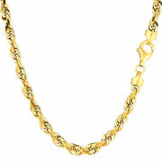 10k Yellow Solid Gold Diamond Cut Rope Chain Necklace 5.0mm