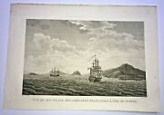 Sandwich Islands Hawaii 1797 La Perouse Large Antique Engraved View 18th Century
