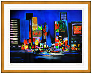 Marcel Mouly Large Couleur Lithographie Signandeacutee New York Times Square Andoeliguvre