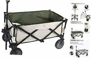 Utility Collapsible Wagon, Folding Beach Wagon, Camp Grocery Cart With Wheels