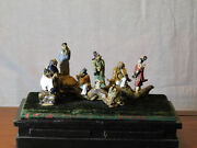 Antique Chinese Hand Sculpted Clay/art Pottery Statue Display Of Figures