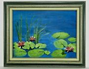 M.jane Doyle Signed Orig. Art Oil/canvas Painting Lilypons Water Figures