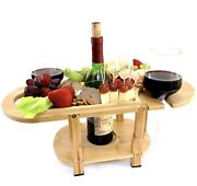 Bamboo Wine And Cheese Board, Elegant Coffee Table Wine Glass Holder