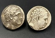 Old Antique Bakhtar Indo Greek Bactrian Ancient Silver Coins Antiquities 2 C.bc