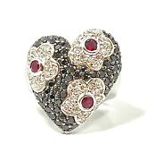 Barry Kronen 18k White Gold Black And White Diamonds And Ruby Flowered Heart Ring