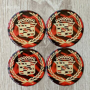 Red And Gold Cadillac Dayton Wire Wheel Chips Emblems Decals Set Of 4 Size 2.75in