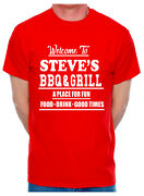 Customised Adult T-shirt Steve's Bbq And Grill Choose Your Name Pub Café Name
