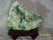 Chinese Hand Sculpted Jade Stone Bok-choy Statue Sculpture W/display Stand