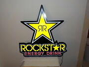 """Rockstar Energy Drink Led Light Up Bright Neon Sign 30"""" Tall X 28"""" Wide"""