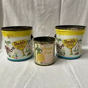 Tins X3 Derby Peter Pan Girl Peanut Butter And 2 Shedds Circus Sand Pail W Elf Men
