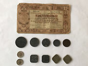 Assorted Netherlands Older Coins With A 1938 1 Guiden Note