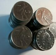 Lot Of 5 L.50 R Italian Coin Lire Republica Italiana 60and039s 70and039s 80and039s Free Shi