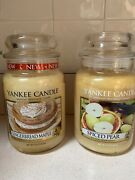 Yankee Candle Lot Of 2 Fall Spiced Pear Gingerbread Maple 22oz. Jar New