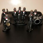 5 Pc Ack Trading Figurines African American Complete Musical Jazz Band