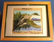 50's Johnson Sea Horse Outboard Motors Pin Tail Duck Blair Equipment Signed Art