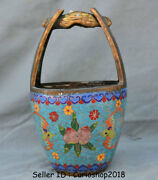 10 Marked Old China Cloisonne Enamel Bronze Dynasty Peach Portable Pail Bucket