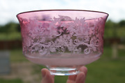 Antique 19th Century Victorian Cranberry Glass Acid Etched Oil Lamp Shade A