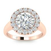 1.25ct H-si1 Diamond Round Engagement Ring 14k Rose Gold Any Size