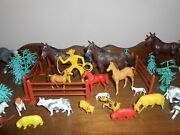 Farm Animal Toy Set Horses Pigs Sheep Trees And More