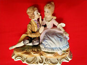 Victorian Courting Sitting Couple Figurine 6 Young Man Woman Porcelain Gilted