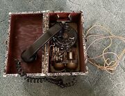 Very Unique Black Rotary Dial Phone In Wooden Box Western Electric Date Unknown