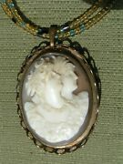 Haunted Antique Witches Priestess Moon Goddess Double Shell Cameo Necklace/pin