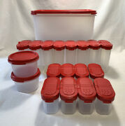Tupperware Modular Mates Maroon Spice Set And Container W/ 18 Pieces