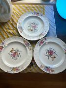 Set Of 3 Spode Copeland China Christine Plates Floral Y6802n8 7/8 Inches Across