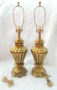 Pair Of 1970's Vintage Ethan Allen Lamps Ribbed Solid Brass