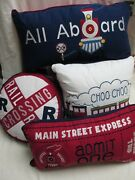 Red Truck Little Red Caboose Navy Blue Railroad Train 5pc Quilt Pillow Set- Twin