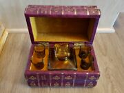 Vintage French Four Library Books Hidden Decanter And Glasses Set With Music Box
