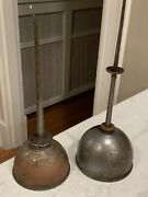 Lot Of 2 Antique Vintage Eagle Thumb Pump Hand Oil Oiler Oiling Copper Cans
