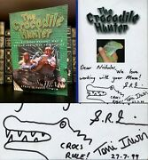 The Crocodile Hunter Hand Signed By Terri And Steve Irwin With Croc Sketch Rare
