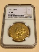 1861-s Xf45 Ngc Liberty Double Eagle 20 Gold Coin Very Nice Coin No Pcgs