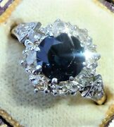 Antique Art Deco 18ct Gold Sapphire And Diamond Round Halo Ring Size N