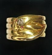 Antique Victorian 1900 18ct Gold Ruby And Diamond Coiled Snake Ring Size Z