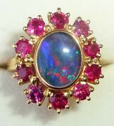 Large 18ct Gold Black Opal And Ruby Halo Ring Size L - L1/2 Heavy