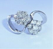 18ct White Gold 1.18ct Diamond Double Daisy Ring, Size R, Us 8 1/2
